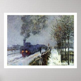 Tren de Monet en poster de la nieve