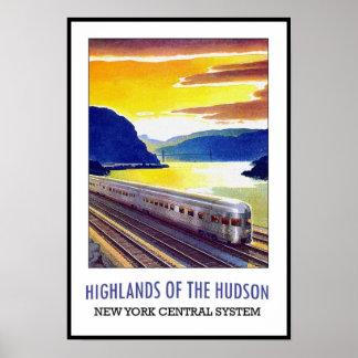 Tren de Nueva York el Hudson de la impresión del