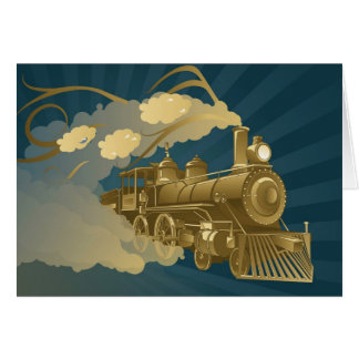 Tren de oro tarjeta de felicitación