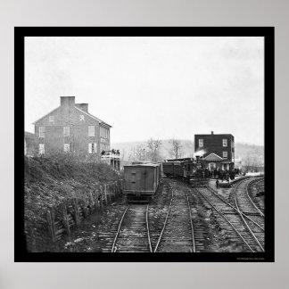 Tren de pasajeros en el empalme de Hannover, PA 18 Póster
