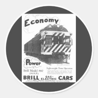 Tren de pasajeros ligero 1932 del rodaballo etiqueta redonda