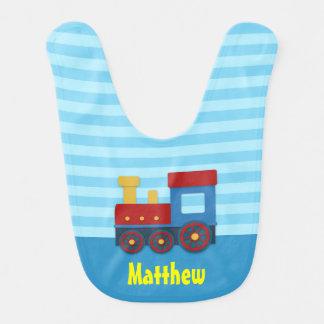 Tren del amarillo, rojo y azul para el bebé baberos para bebé