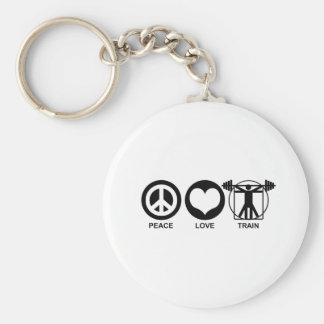 Tren del amor de la paz llavero