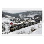 Tren del carbón del invierno felicitaciones