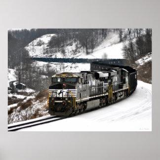 Tren del carbón del invierno póster