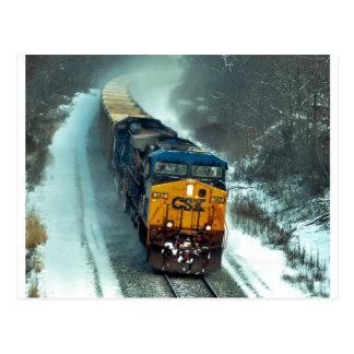 Tren del carbón del invierno tarjetas postales