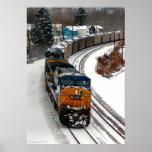 Tren del carbón en invierno poster