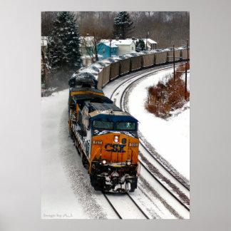 Tren del carbón en invierno póster