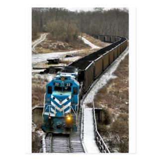 Tren del carbón en invierno postales