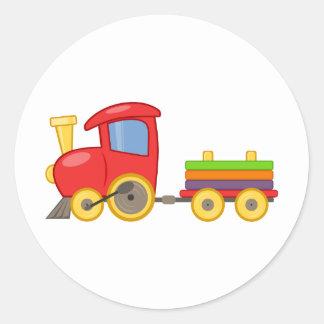Tren del dibujo animado pegatina redonda