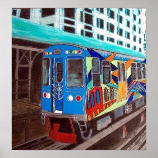 Tren del EL de la pintada de Chicago Poster