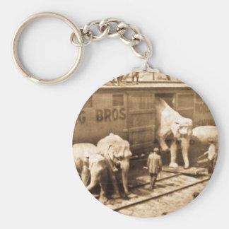 Tren del elefante de Ringling Bros de la diapositi Llavero Redondo Tipo Pin