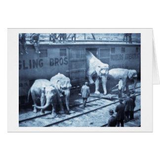 Tren del elefante de Ringling Bros de la diapositi Tarjetón