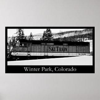 Tren del esquí del parque del invierno posters