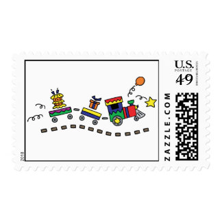 Tren del fiesta sello postal
