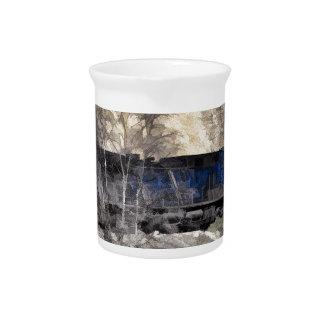 Tren del guardabosques de la montaña rocosa jarra para bebida