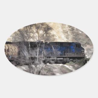 Tren del guardabosques de la montaña rocosa pegatina ovalada