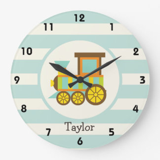 Tren del juguete; Brown, naranja, amarillo, Reloj Redondo Grande