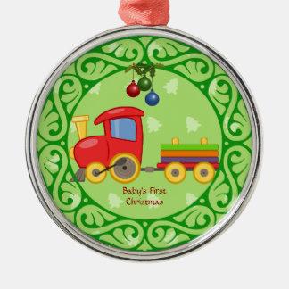 Tren del juguete, el primer navidad del bebé adorno navideño redondo de metal