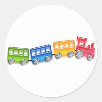 Tren del juguete pegatina redonda