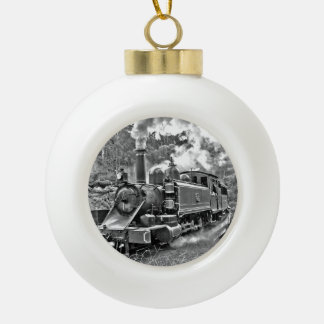 Tren del motor de vapor del vintage adorno de cerámica en forma de bola