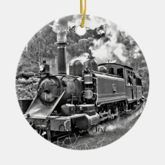 Tren del motor de vapor del vintage adorno navideño redondo de cerámica