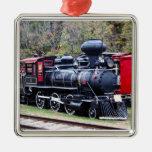 Tren del motor del carbón adorno navideño cuadrado de metal