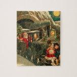Tren del navidad de Papá Noel del vintage Puzzle