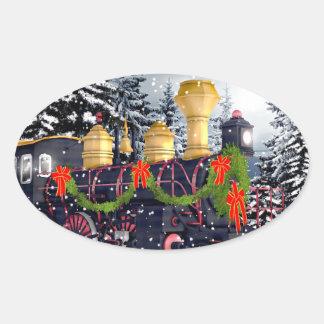 Tren del navidad pegatina ovalada