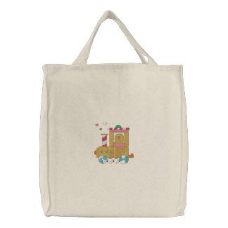 Tren del pan de jengibre bolsas bordadas