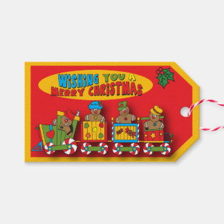 Tren del pan de jengibre de las Felices Navidad Etiquetas Para Regalos