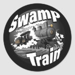 Tren del pantano etiqueta redonda