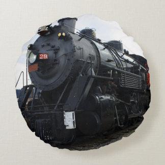 Tren del vapor del ferrocarril del vintage cojín redondo