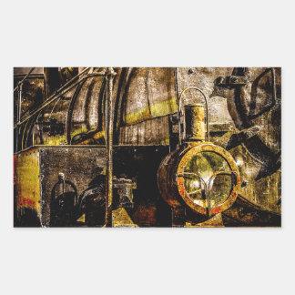 Tren del vapor del vintage - contador de tiempo pegatina rectangular