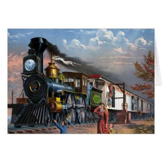 Tren del vapor del vintage en el ejemplo de la tarjeta