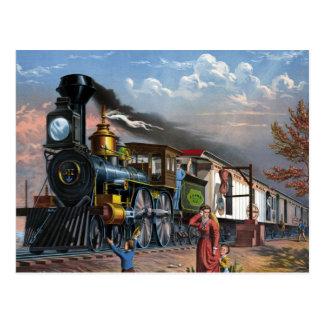 Tren del vapor del vintage en el ejemplo de la tarjetas postales