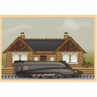 Tren del vapor del vintage en la estación imán fotoescultura