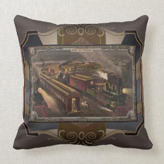 Tren del vapor en la estación. Edad del vapor Cojín