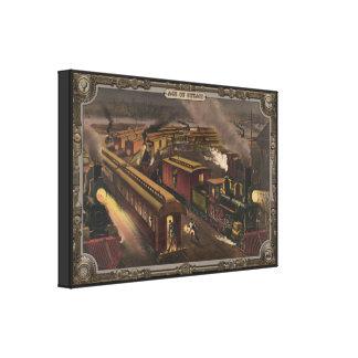 Tren del vapor en la estación. Edad del vapor Impresiones En Lona