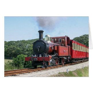 Tren del vapor en la isla de Castletown del hombre Tarjeta Pequeña