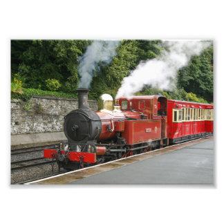Tren del vapor en la isla de Douglas del hombre Fotografías