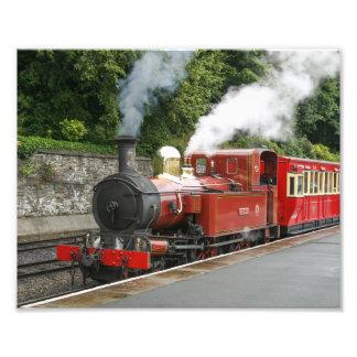 Tren del vapor en la isla de Douglas del hombre Impresiones Fotograficas