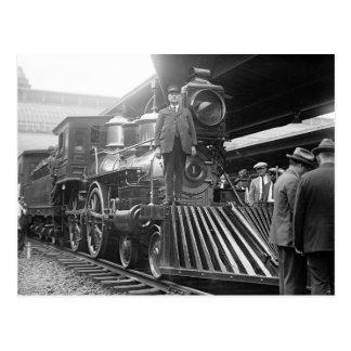 Tren del vapor en Station, 1923 Postal