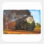Tren del vapor pegatina cuadrada