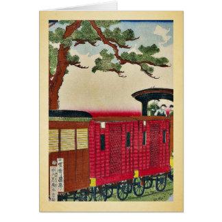 Tren del vapor por Utagawa, Kuniteru Ukiyoe Tarjeta De Felicitación