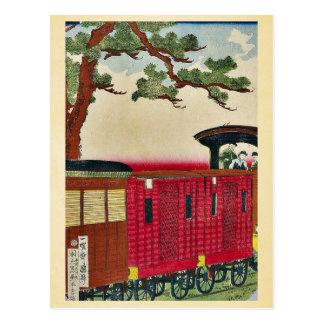 Tren del vapor por Utagawa, Kuniteru Ukiyoe Tarjeta Postal