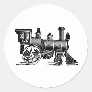 Tren del vintage pegatina redonda
