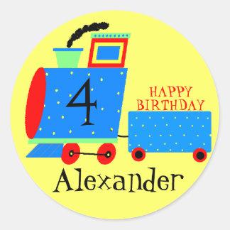 Tren-Edad de la fiesta de cumpleaños Etiquetas Redondas