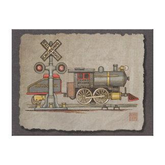 Tren eléctrico del juguete impresión en lienzo