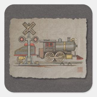 Tren eléctrico del juguete pegatina cuadrada